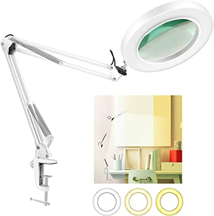 NEWACALOX Dimmable Super Bright 3 Colors Illuminated Magnifier Lamps 5-Diopter Magnifier Glass Light Lens LED Magnifying Lamp with Clamp Adjustable Swivel Arm lamp for Table Craft or Workbench