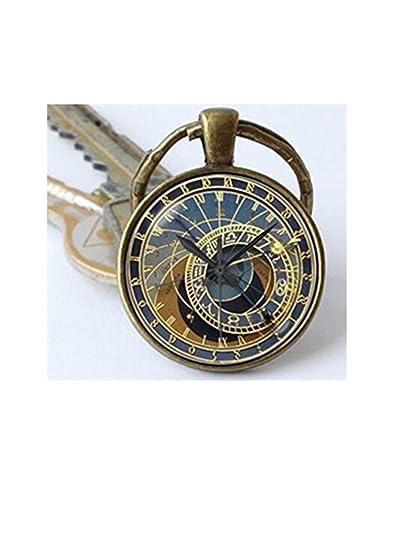 Llavero del reloj astronómico de Praga estilo steampunk: Amazon.es: Joyería