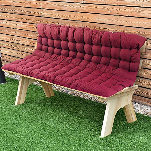 (Scorpiuse Soft Bench Cushions with Backrest Non-Slip Bench Pads with Ties Indoor/Outdoor Swing Chair Tatami Floor Loveseat Cushion for Dining, Patio, Camping, Kitchen Benches (39