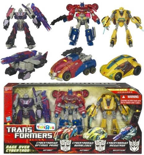 Transformers Generations Rage Over Cybertron. Deluxe Cybertronian Optimus Prime, Deluxe Cybertronian Bumblebee, & Deluxe Cybertronian Megatron