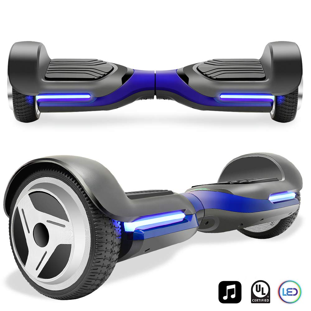 Cho Electric Self Balancing Dual Motors Scooter Hoverboard with Built-in Speaker and LED Lights - UL2272 Certified (-Black/Blue)