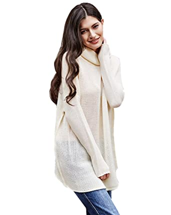Pull Long Maille Femme Pull Tunique Oversize Manches Longues Col Roulé  Ample Hiver Pull Robe Habillé 15f9ed0967b2