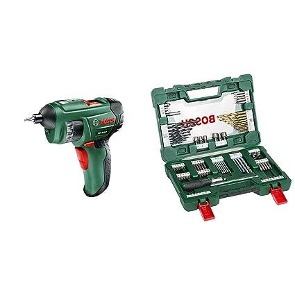 Bosch PSR Select - Atornillador con batería, cargador, depósito de puntas integrado, 12 puntas, maletín + Bosch V-Line Titanio - Maletín de 91 ...
