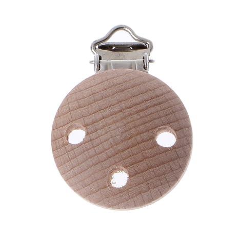 Junlinto, 35mm Dummy Clip Chupete de Madera de Haya Pezón Clip Pezón ...