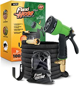Flexi Hose Plus Lightweight Expandable Garden Hose, No-Kink Flexibility, Extra Strength with 3/4 Inch Solid Brass Fittings & Double Latex Core, Carry Case, Hook (100ft)