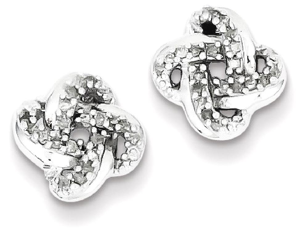 ICE CARATS 925 Sterling Silver Diamond Knot Post Stud Ball Button Earrings Fine Jewelry Gift Set For Women Heart