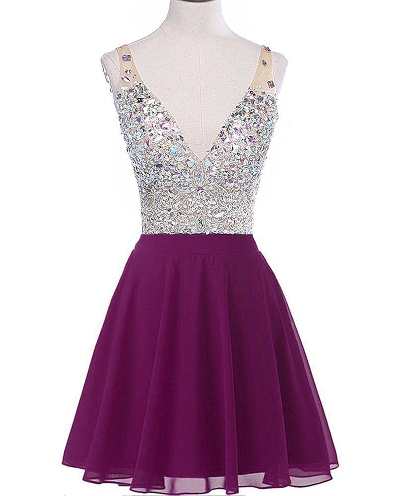 Grape EllieHouse Womens Short V Neck Prom Gown Homecoming Dress H201