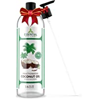 Fractionated Coconut Carrier Oil - 100% Pure and Natural Therapeutic Grade - 16 oz with Premium Pump - Perfect for Aromatherapy, Massage, Hair and Skin Care by Essential Oil Labs