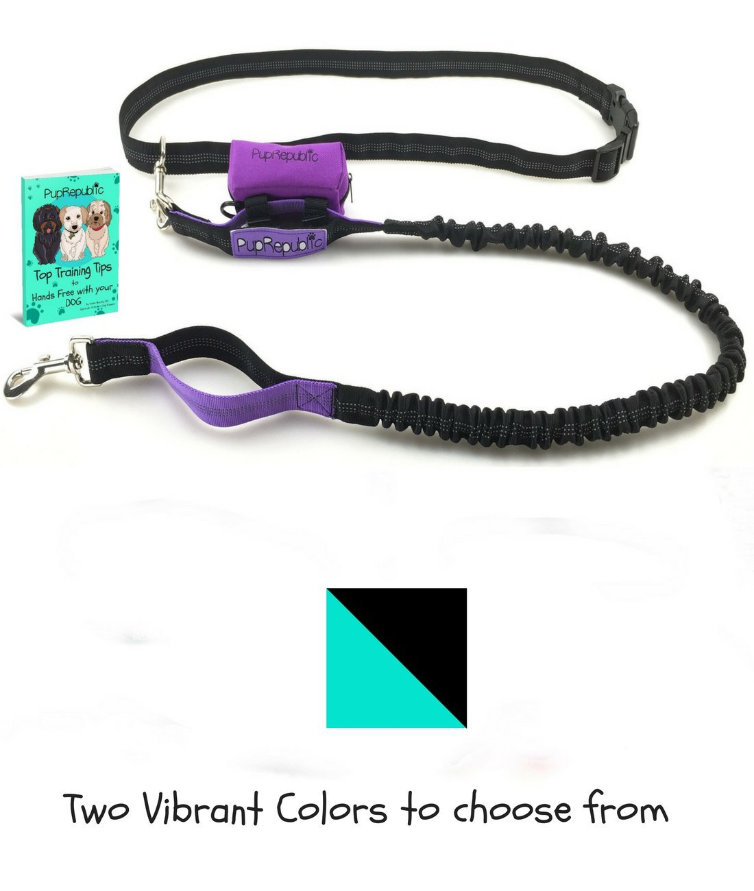 PupRepublic Hands Free Dog Running Leash with FREE Poop Bag Holder for Walking Jogging Hiking FREE EBook by Top Trainer Reflective 4ft-5ft Bungee 27-48 inch Waist 100% Guarantee