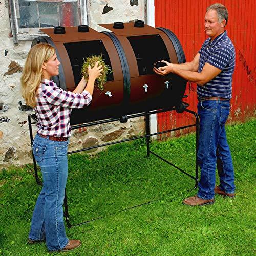 Compostador de jardín Mantis con 2 compartimentos - Compostador rotativo 2 x 350 litros: Amazon.es: Jardín