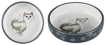 Trixie Comedero Gatos, Hocico Corto,Cerám, 15 cm,Gris