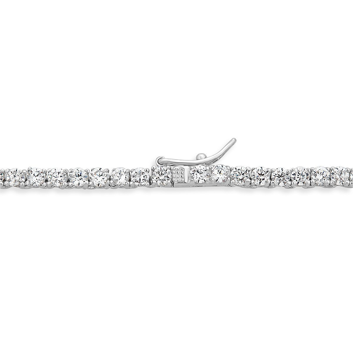 Platinum Plated Sterling Silver Cubic Zirconia Tennis Necklace by Caratina (Image #3)
