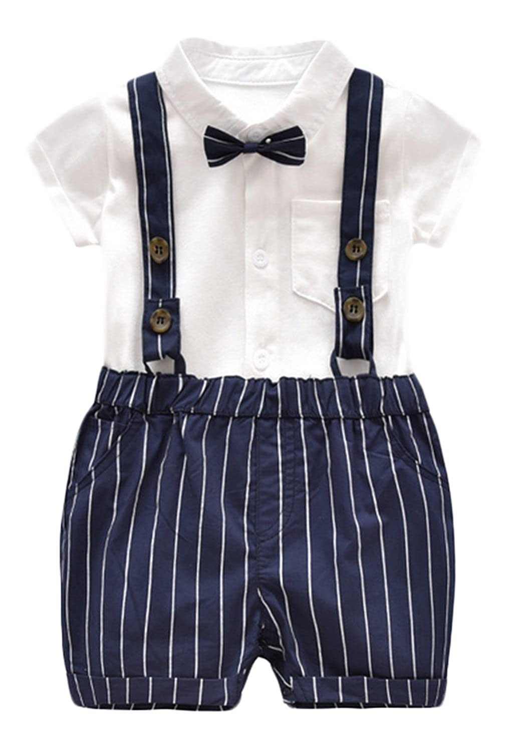 EGELEXY Little Gentleman Newborn Baby Boy Bow Tie Bodysuit Bib Pants Set Clothes F320