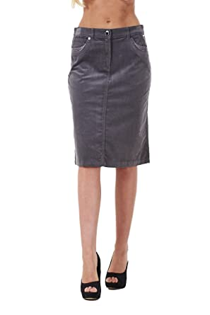 ae317234a2a3a6 Ladies A Line Fine Cord Stretch Stud Detail Knee Length Midi Skirt ...