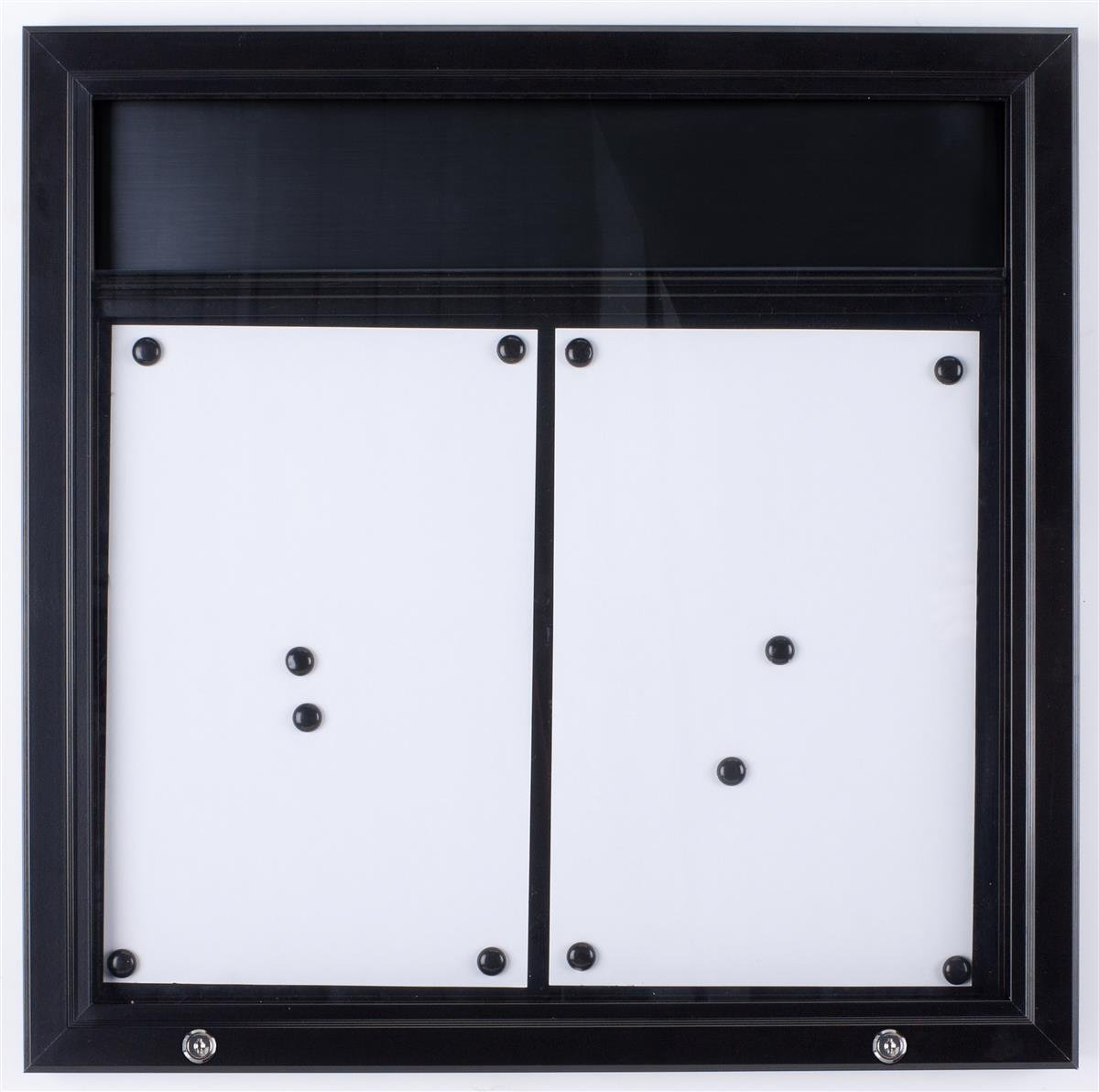 Displays2go ODM111721H Bulletin Board with Swing-Open Locking Door for Outdoor Use, Wall Mounted Notice Board with Black Magnetic Surface, Optional Header Bar, Aluminum (Black)
