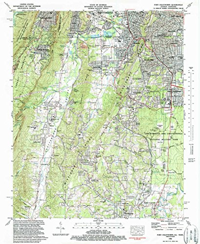 Fort Oglethorpe GA topo map, 1:24000 scale, 7.5 X 7.5 Minute, Historical, 1982, updated 1988, 26.8 x 22 IN - - Acres Green Long Island