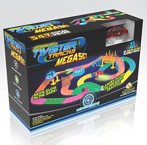 (Mindscope Neon Glow Neo Tracks Twister Tracks 258 Piece Flexible Assembly Track Set)