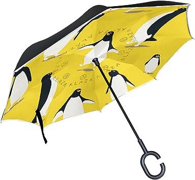 ALAZA - Paraguas inverso de doble capa con diseño de dibujos ...