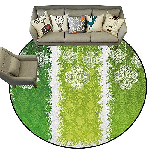 - Irish,Washable Rugs Aged Vintage Antique Figures on Green Toned Color Bands Celtic Historic Lace Image D36 Round Rugs for Bedroom Living Room