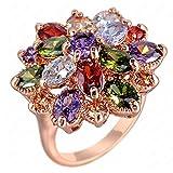 """RI06009 """"Lotus"""" Austrian Crystal 18K Ring"""