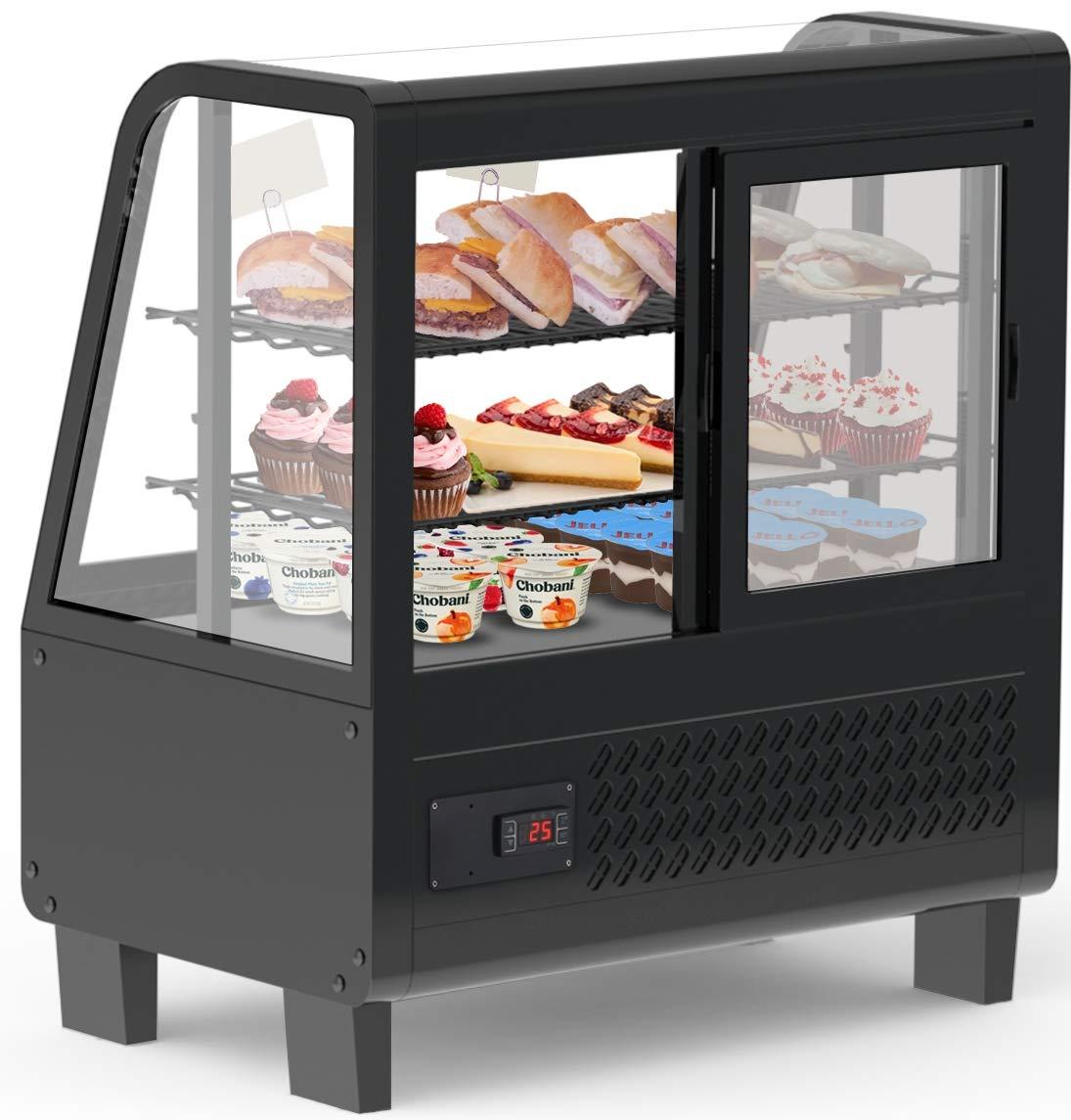 KoolMore Commercial Countertop Refrigerator Display Case Merchandiser with LED Lighting – 3.6 cu. ft, Black (CDC-3C-BK)