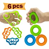 Hand Grip Strengthener Finger Exerciser Grip Strength Trainer (6 PCS)*New Material*Forearm Grip Workout Finger Stretcher Relieve Wrist Pain Carpal Tunnel Trigger Finger Mallet Finger and More.