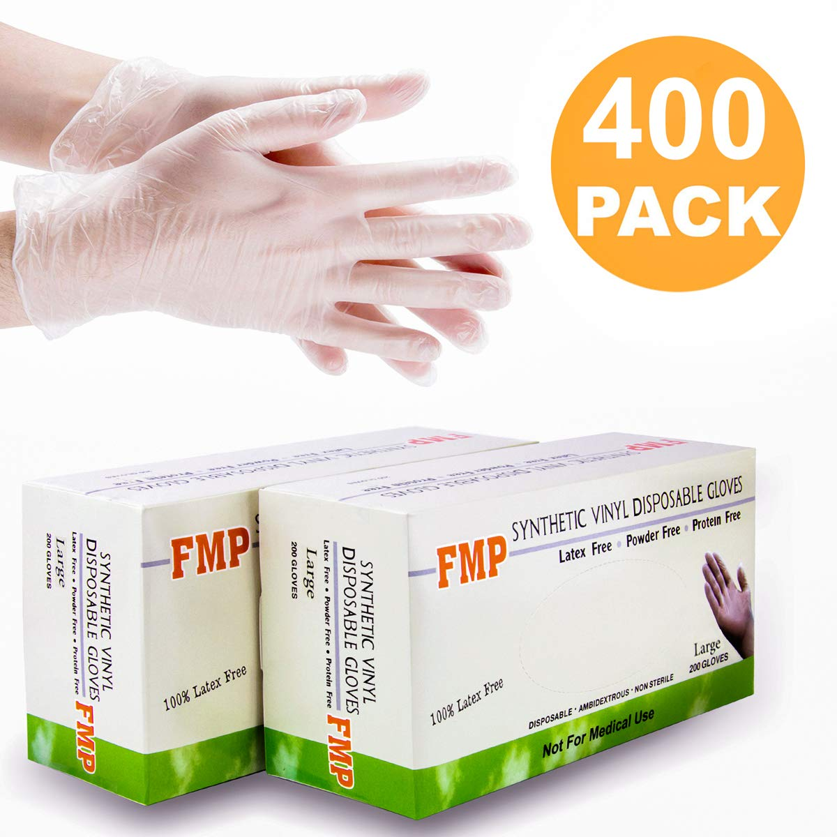[400 Pack] Large Size Disposable Vinyl Gloves, Non-Sterile, Powder Free, Smooth Touch, Food Service Grade by Fit Meal Prep