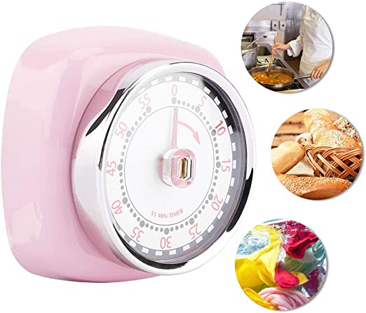 Stainless Steel Kitchen Timer with Magnetic Base Manual Mechanical Cooking