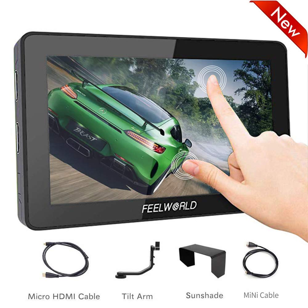 Feelworld F6 Plus 5.5 inch Touch Screen DSLR Camera Field Monitor,3D Lut Small Full HD 1920x1080 with 4K HDMI 8.4V DC Input/Loop Output Include F550 Battery + Charger by FEELWORLD