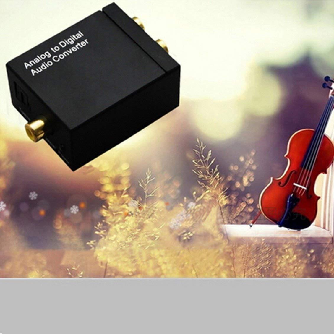 Negro Se/ñal /óptica Digital coaxial a Adaptador de convertidor de Audio anal/ógico RCA Conversor de Audio Digital a anal/ógico
