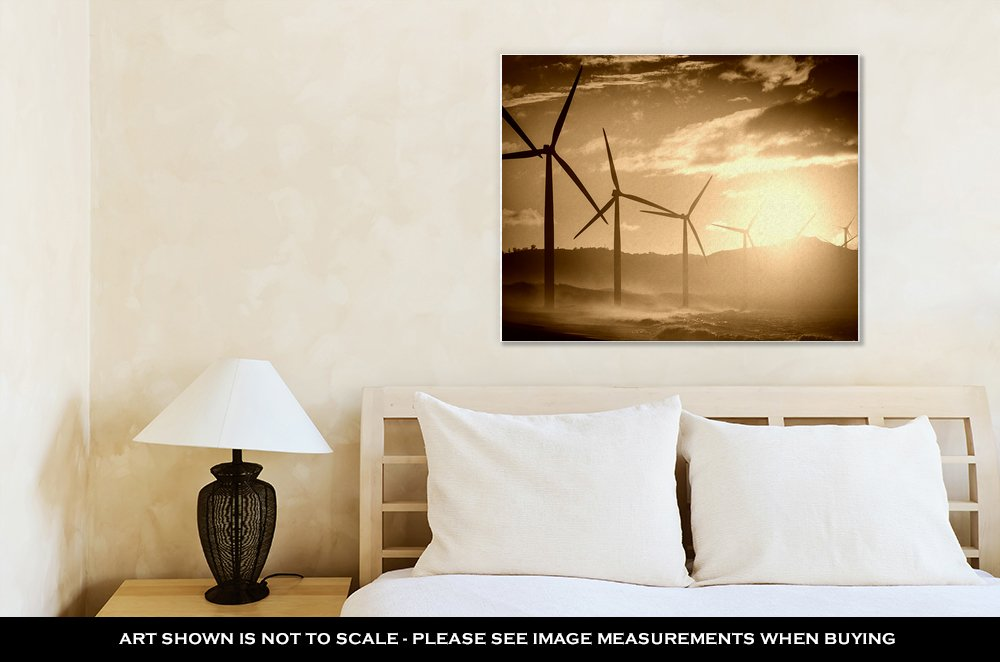 Ashley Canvas Wind Turbine Power Generators Silhouettes At Ocean Coastline At Sunset, Wall Art Home Decor, Ready to Hang, Sepia, 16x20, AG5858548 by Ashley Canvas (Image #2)