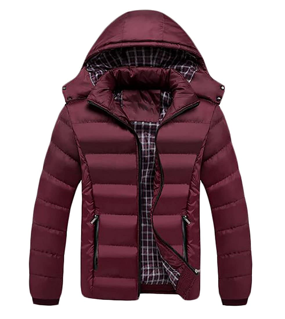 xtsrkbg Mens Lightweight Thicken Cotton Padded Coat Puffer Jacket with Hoodie