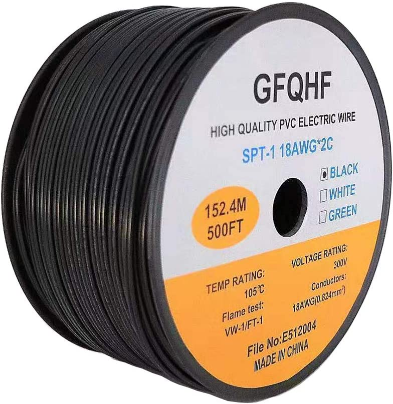 GFQHF 500foot 18 AWG Guage Zip Cord Electrical Wire, SPT1 Rated,UL Listed,for lighting extension cord (Black)