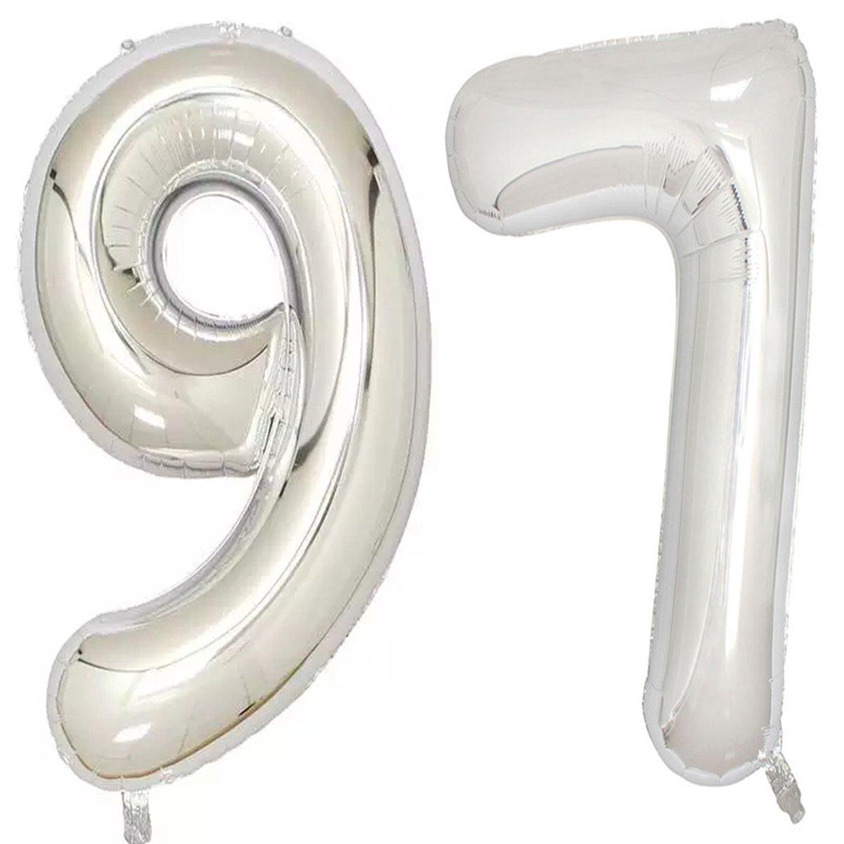 40インチシルバー箔ヘリウムジャンボ97デジタル番号バルーン、97th誕生日装飾の女性または男性、97誕生日パーティーSupplies   B07B8JWMCY