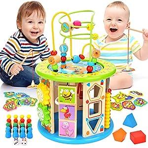 WloveTravel Jouet Bois,Cube D'activité en Bois Cube Labyrinthe 10 en 1 Jouets éducatifs à Usages Multiples pour bébé…