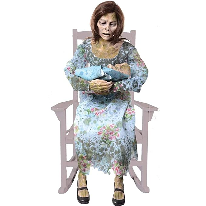 Rocking Moldy Mommy with Mummified Baby Halloween Animated Decor