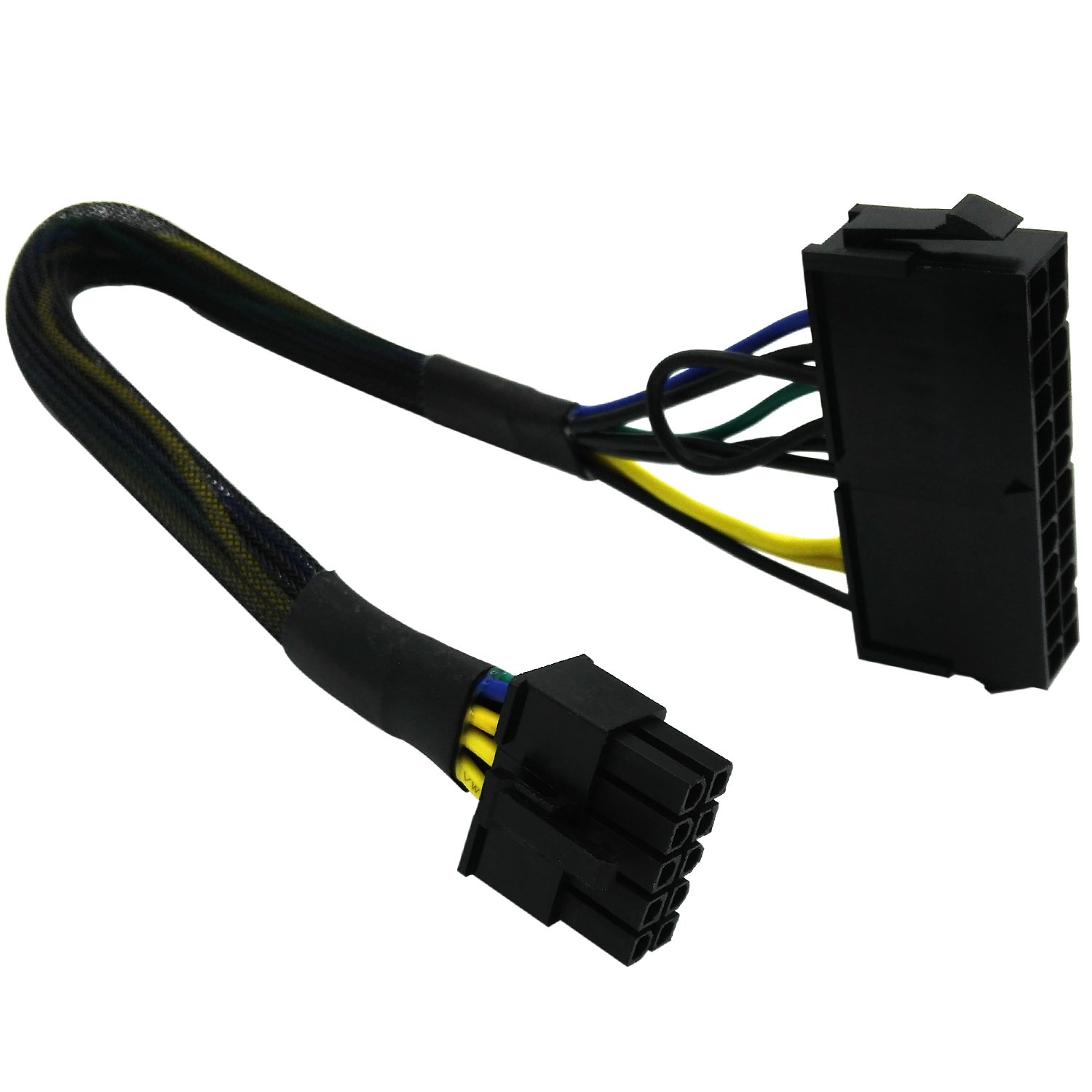 COMeap 24 Pin to 10 Pin ATX PSU Main Power Adapter Braided Sleeved Cable for IBM/Lenovo PCs and Servers 12-inch(30cm) by COMeap (Image #1)