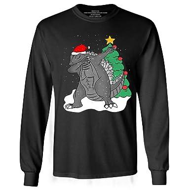 9cd5cae545d06 Amazon.com  Dabbing Godzilla Santa Christmas Funny Dab Dance Long Sleeve  Tshirt  Clothing