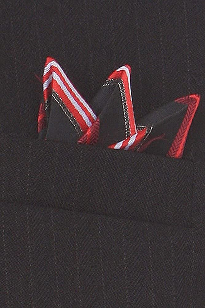 Boys Black Pinstripe Vest Suit with Red Shirt
