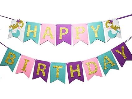 Amazon Com Happy Birthday Banner Mermaid Under The Sea Banner For
