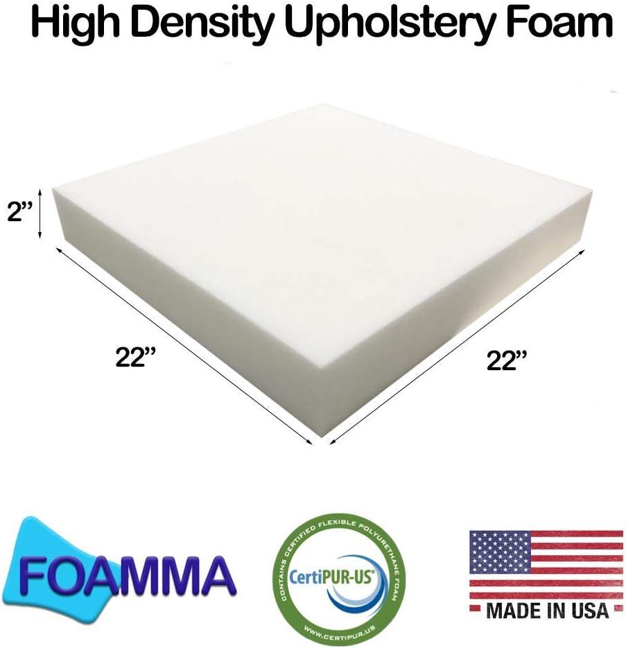 FOAMMA 22 x 22 Upholstery Foam High Density Foam 0.5 x 22 x 22 Chair Cushion Square Foam for Dinning Chairs, Wheelchair Seat Cushion Replacement