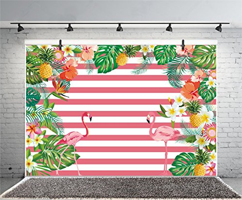 (Leyiyi 8x6ft Photography Background Water Color Birthday Party Pink White Stripe Backdrop Flamingos Leaves Flowers Baby Shower Banquet Pineapple Lily Photo Portrait Vinyl Video Studio Prop)
