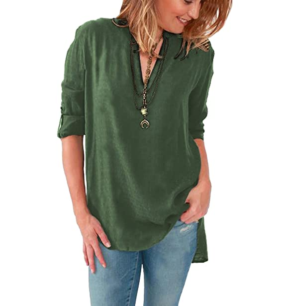 Außergewöhnlich ISSHE Bluse Chiffon V Ausschnitt Lange Blusen Langarm Damen @RG_94