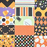 """Halloween Fabric 5"""" Squares Charm Pack, 30 pieces, die cut, 100% cotton"""