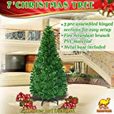 Strong Camel Green Artificial Christmas Pine Tree With Solid Metal Stand (7ft, green)