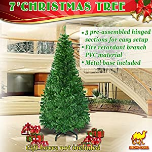 Stong Camel Green Artificial Christmas Tree 7 ft Spruce Pine Metal Stand Folding Realistic -1000 tips 67