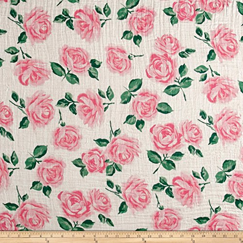 Rose Garden Fabric - Shannon Fabrics Shannon Embrace Double Gauze Rose Garden Fabric by the Yard, Pink