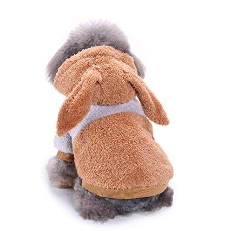 Ropa Perro Pequeño Invierno Terciopelo Sudadera con Capucha Orejas de Conejo Abrigo Jersey para Mascota Chihuahua