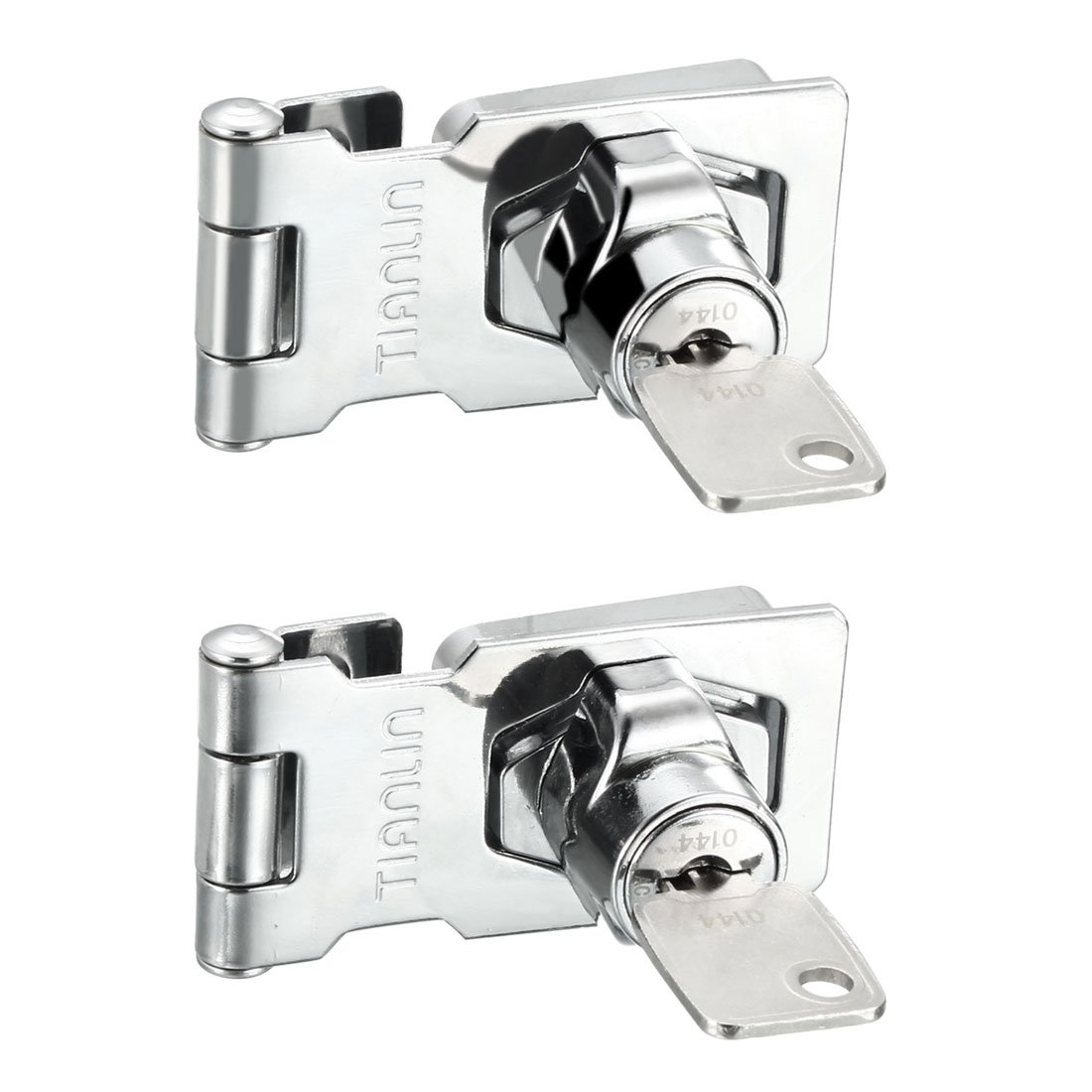 uxcell Keyed Hasp Lock Latch Lock for Doors Cabinets Silver, Zinc Alloy Plated, 3.07''x1.42'', 2pcs