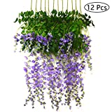 Bird Fiy 12 Pieces 3.6 Feet Artificial Flowers Fake Wisteria Vine Hanging Flower Garland for Wedding Party Home Garden Wall Decor/Purple